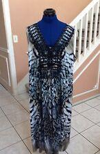 APT. 9 Gray Print Lace & Sequin Embellished Sleeveless Shift Dress Sz 2X - L@@K!