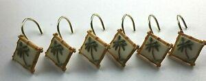 Shower Hooks PALM TREES Gold Tone Hooks Set of 6