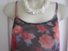 Ladies size 10 Atmosphere black mix mix floral strappy sleeveless semi sheer top