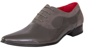 Mens Smart Casual Shiny Grey Leather Lined Contrast Shoes Party Slip-On Loafers