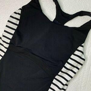 M Athleta Stripe Ace Racer Racerback Tank Top Yoga Fitness Gym Mesh Back Pockets