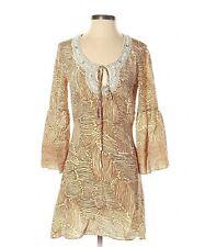 Tracy Reese 100% Silk Geometric Print Beaded Boho Dress Beige Size 4