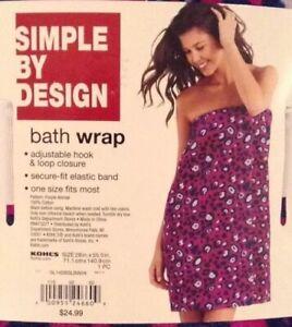 SIMPLE BY DESIGN BATH WRAP in PURPLE Leopard Cat Design 100% Cotton