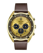 New Seiko SSC570 Solar Chronograph Gold Tone Stainless Leather Strap Men's Watch