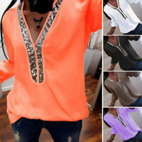 Womens Sequins V-neck Tops Blouse Ladies  Long Sleeve Casual T Shirt Plus Siz xc