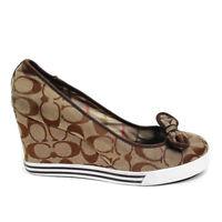 Coach Sweetie Brown Canvas Women's Signature Wedge Heel Bow Detail Shoe Sz 9.5M