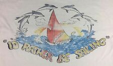 Vintage Mens S/M 70s 80s Hawaii Rather Be Sailing Dolphins Beach Surf T-Shirt