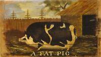 Fine 19th Century English Fam Prize Fat Pig Portrait Antique Oil Painting