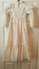 Vtg Prairie Dress Lace Trim Textured Sz  6 Dorissa Of Miami