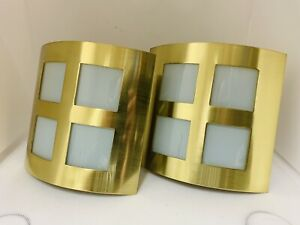 Pair of Brass Glass Square Wall Lights