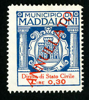 Italy Maddaloni Stamps VF Red Overprint Revenue