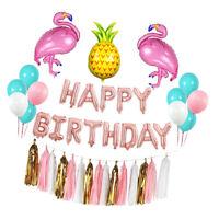 HAPPY BIRTHDAY Flamingo Pineapple Balloon Banner Sets Hawaiian Party Decor