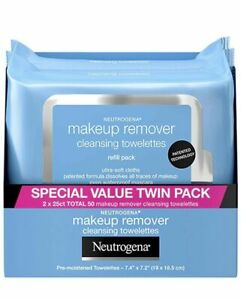 Neutrogena Makeup Remover Daily Cleansing Face Wipes (25 Count each pack X 2)