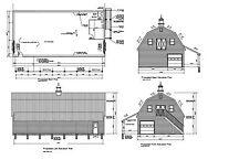 30'x60' Gambrel Barn Garage Shop 60'X30' Barn Garage Prints #17-3060Gmb-1