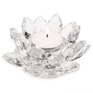 Crystal Glass Lotus Flower Candle Holder Candlestick Home Decor Craft Ornament