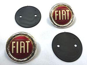 Satz (2+2) Fiat Embleme + Gummiunterlage für Fiat x1/9 neu