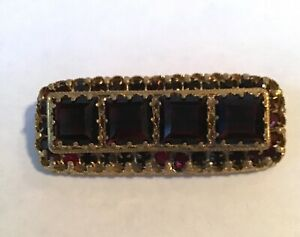 ANTIQUE CZECHOLOVAKIA Signed GOLDTONE RED COLORED CRYSTAL BROOCH Jewelry