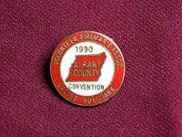 VINTAGE PIN PINBACK 1990 ALBANY CONVENTION VOLUNTEER FIREMAN'S ASSOC LADIES AUX