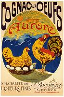 VINTAGE FRENCH LIQUOR AD Cognac Aux Oeufs Art Print Giclee Poster 24x36
