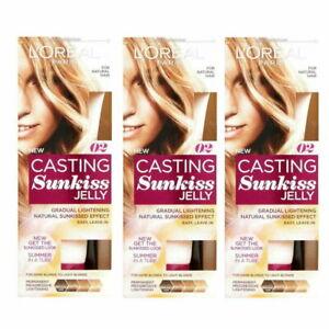 3 x LOreal Casting Sunkiss Jelly Permanent Lightening 02 Dark Blonde to Light Bl