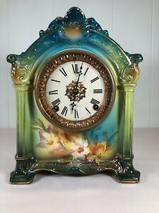 """Antique Ansonia """"La Savoie"""" Porcelain Royal Bonn Clock 8-Day, Time and Strike"""