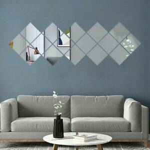 Mirror Tiles Wall Sticker Square Self Adhesive Stick On Art Home Decor 16X