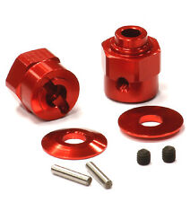 C24396RED Integy Billet Machined Hex Wheel Hub Set(2)+5 Offset for Axial Wraith