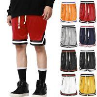 Mens Track SHORTS Basketball Gym Mesh Summer Pants Drawstring Jogger Zipper