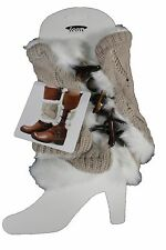 New Women Boots Cover Topper Pair Warmer Winter Beige Fabric Slip On White Muffs