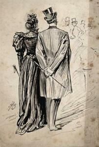ALFRED BRYAN (1852-1899) Small Pen & Ink Drawing ILLUSTRATION - FIGURES