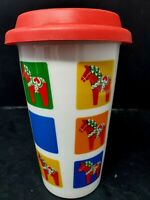 Sagaform Valentine Hearts and Hoses Porcelain Travel Coffee Cup Mug w/Lid