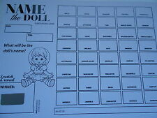 NAME THE DOLL FUNDRAISING SCRATCH CARDS 40 SPACES(B&W) X 10 = EASY TO RAISE £200