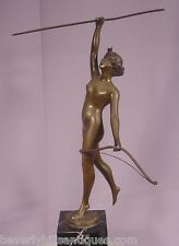 Antique Art Deco Bronze Nude Diana Signed Bronze Signed Thermann