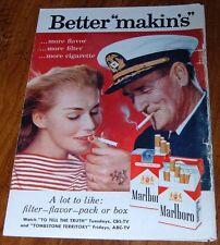 1959 MARLBORO CIGARETTE PRINT AD~NAVY MAN ANCHOR TATOO~TOMBSTONE TERRITORY AD