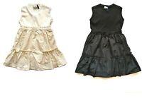 MONCLER JUNIOR bambina abito tricot smanicato nero e bianco in acrilico e cotone