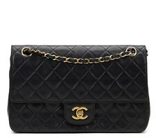 CHANEL BLACK QUILTED LAMBSKIN VINTAGE MEDIUM CLASSIC DOUBLE FLAP BAG - HB475