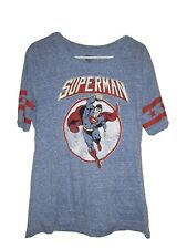 Women's Superman Heathered Blue Graphic T-Shirt Top Size XL