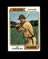 Pat Corrales Hand Signed 1974 Topps San Diego Padres Autograph