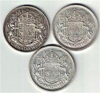 3 X CANADA FIFTY CENTS HALF DOLLARS SILVER COINS 1950 HALF DESIGN 1955 1957