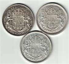 3 X CANADA FIFTY CENTS HALF DOLLARS SILVER COINS 1950 HALF DESIGN 1955 1957