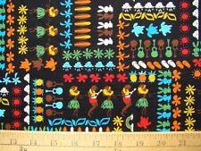 New Hawaiian Hawaii Tiny Print Hula Surfboards Flowers Trees Black Fabric BTY