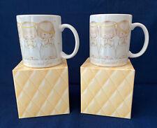 2 Hallmark Praying Angels Stoneware Coffee Cup Mug Peace, Love & Joy w Boxes