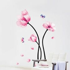 Pink Flower Butterfly Wall Sticker Removable Mural Decal Home Room Decor Vinyl