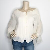 Douglas Hannant Size 10 Ivory Pearl Button Front Lace Up Back Blouse Shirt Top