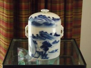 Chinese Blue & White Round Tea Caddy 2 Lids with Handles