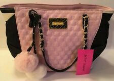 Betsey Johnson HEART QUILTED Tote Bag Purse Satchel PINK BLACK STRIPE POMPOM $98