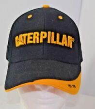 Vtg Caterpillar Cat Strapback Hat Lift Trucks Tractor Baseball Cap Black Yellow