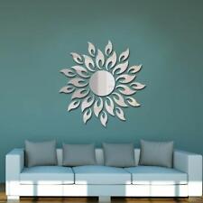 Wall Silver Mirror Sticker Sun Flower Shape Room Decoration Home Decals