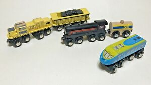 Circo Wooden Train Lot 3 Engines 2 Cars Magnetic Compatible with Thomas Brio