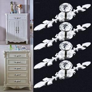 Diamond Cupboard Wardrobe Door Knobs Clear Crystal Cabinet Draw Handle x4